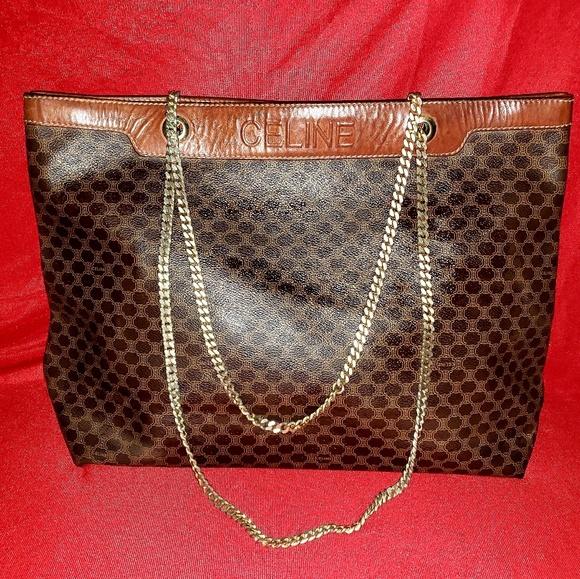 Celine Handbags - Celine Macadam PVC Canvas Leather Handbag